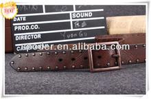 2014 discount fashion punk stud bullet real Leather men belt rock