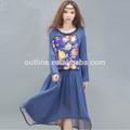 2014 de verano de algodón de lino de playa vestido de las señoras vestido de bohemia más vestido de tamaño