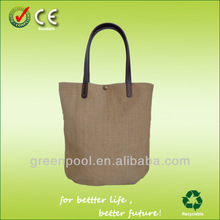 Fashion promotional jute bags with leather handles