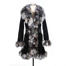 Qd10148 vêtements gros manteau de la peau de porc avec Fox col femmes robe de la chine