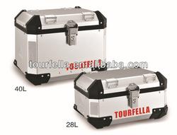 Tourfella Motorcycle topcase, Aluminum case , Anodized silver