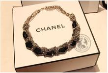 Korea clavicle new multi- chain necklace European and American retro black gem sweater chain necklace nightclub CN91410