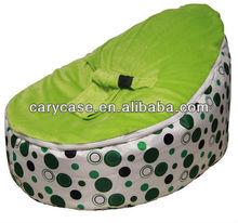 {UNFILLED} SnuggleRoo Baby Bean Bag - Green Polka Dots