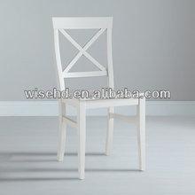 (W-C-1723) pine wood white cross back chair
