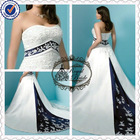 Sexy Strapless Appliques Beaded Royal Blue And White Wedding Dresses