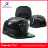 Oem 5/6 Panel Hat/Cap High Quality Full Black Leather Snapback Hat/Cap Snap Back With Metal Logo On Front And Plastic Enclosure