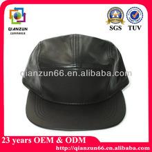 2014 wholesale black leather brim blank 5 panel cap and hat