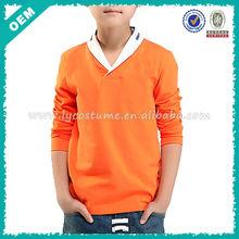 Custom Plain Orange Kids Long Sleeve T-shirt (lyt-060003)
