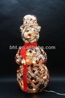 Rattan snowman with berries with clear lights white