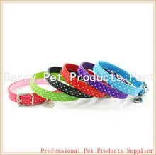 Polka Dot with Rhinestone Buckle Pu leather Dog Collar