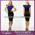 ML17957 Sheath Dress Wwo-tone Dress Knee Stretch Office Pencil Dress For Ladies