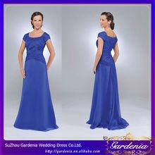 A-line Square Cap Sleeve Full Length Women Dresses Light Blue Mother of the Bride Dresses