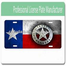 Texas Rangers badge on a vintage Texas fla
