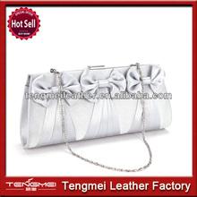 Bow-Accent Satin Clutch Evening Bag Purse Women Wedding Prom Bridal Handbag