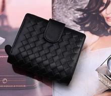 knited wallet top layer genuine leather lambskin short wallet cow-hide mini women/lady summer fashion purse