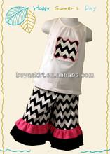 hawaiian clothing children patriotic design cotton Sleeveless T-shirt set unisex chevron outfit cotton shirt & chevron shorts