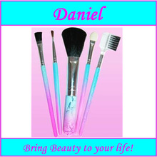 colorful 5 pcs cosmetic brushes set / makeup brush set with concealed carry bag