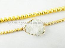 CH-LST0399 Matte beads bracelet jewelry with druzy,gold bracelet wholesale,fashion druzy jewelry bracelet wholesale