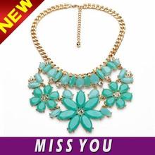 2015 fashion blue flower statement crystal necklace