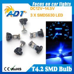Buy cheapest T4.2 smd led 0.1W 1400mcd 3-LED Blue Light Car Dashboard / Corner / Indicate Lamps