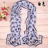 fahion skull pattern imitation silk long shawl chiffon scarf
