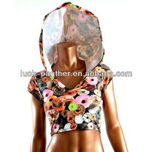 Custom Sleeveless Hoodie Manufactuer sexy hooded sweatshirt with different color