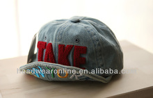Custom New Casquette TAKE Applique/ Embroidery Distressed Turned-up Brim Caps of children