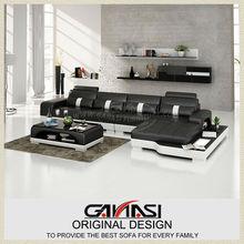 Design sofá de canto, mobília de couro de miami, forma de l sofá de couro preto