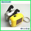 Mini hand crank flashlight multi-function solar led dynamo lantern