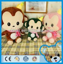 big family plush toy monkey with banana/monkey toy for kids/stuffed monkey plush toys