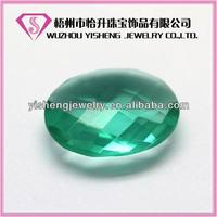 Oval shape China loose briolete greenish glass synthetic gemstone