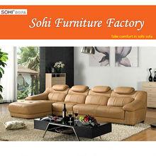 yellow leather sofa, wonderful backrest corner sofa, leather sofa in china