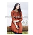 2014 caliente venta irregular diseño de algodón blusa de las señoras, bordados étnicos blusas