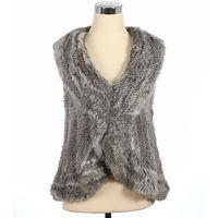 QD30263-4 Stock Garment Women Clothing Rabbit Fur Vests from China