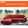 Sofá de canto vermelho com pés de metal, Kuka sofá de couro
