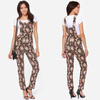 2014 New Fashion Wildflower Black Floral Print Overalls Casual Ladies Pants Suspenders
