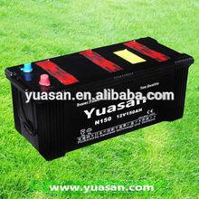 12V150AH Black Case Super Long Life Lead Acid Rechargeable Dry Charged Car Battery JIS Standard N150