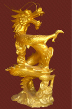 Guangzhou manufacturers custom gold foil animal dragon sculpture park/hotel/square/store/community