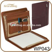Three-Way A4 leather portfolio / padfolio, executive leather folder for conference