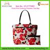 Large Subtle Floral Print Corduroy Polyester Flower Tote Bag