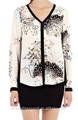 2014 chiffon de alta qualidade impressa camiseta para mulheres com decote v de chiffon impresso camisa das mulheres