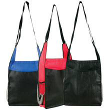 Non-Woven Shoulder Satchel functionality Tote a two-tone design large main compartment mesh side pocket pen holder