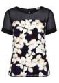 2014 de alta calidad sin mangas cortas/impreso blusas elegante con inserto de malla