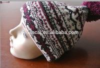 2014 custom jacquard pom beanie hat