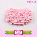 Las ventas caliente! Bonito color rosa volante 100% venta al por mayor de algodón pantalones bombachos para los niños