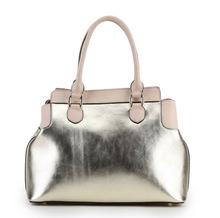 Guangzhou manufacturer women leather handbag 100% cow side leather tote bag ladies fashion handbag in shiny gold leather China