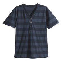 Mens henley shirt stripe summer