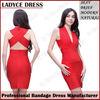 2014 red deep V-Neck sleeveless bandage dress mother of the bride dress