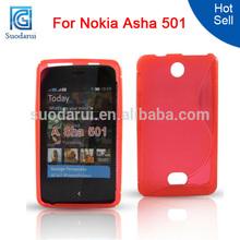 Mix colors S line soft wave TPU cover Case for Nokia Asha 501