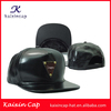 wholesale flexfit plastic closure custom design your logo black leather snapback cap and hat in sports cap with metal plate